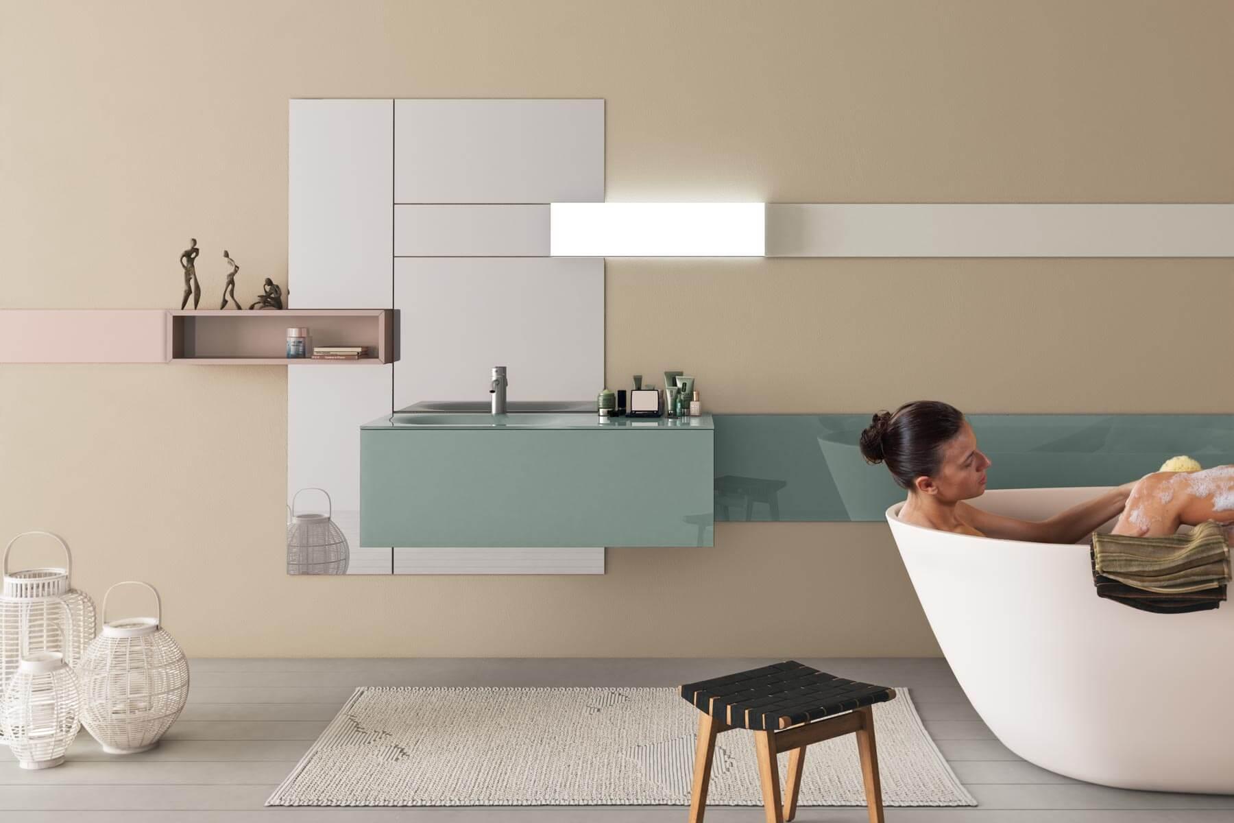 specchio lavabo e mobile bagno