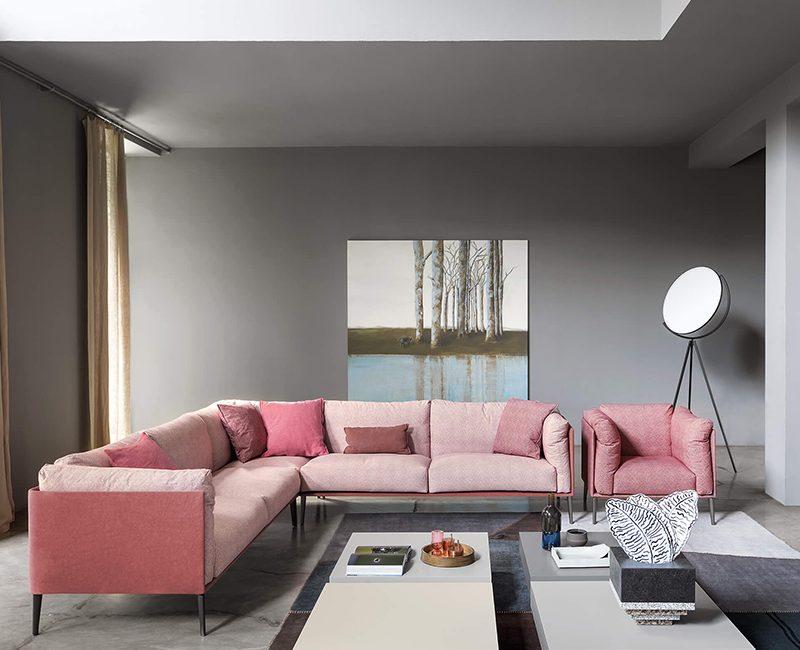 salotto divano rosa